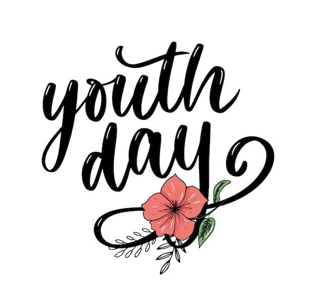 Belettering van internationale jeugddag gele slogan als achtergrond