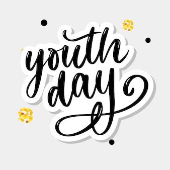 Belettering van internationale jeugddag