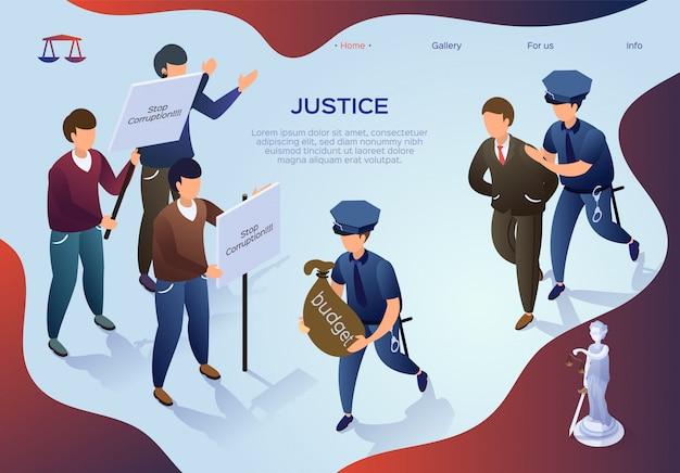 Belettering van justitie, diefstal in staatsbegroting. mensen protesteren tegen corruptie aan de macht. de politie arresteerde de man voor het prikkelen van de begroting. autoriteit voor onrechtmatig gebruik door een ambtenaar. illustratie.