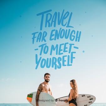 Belettering van reizen met foto