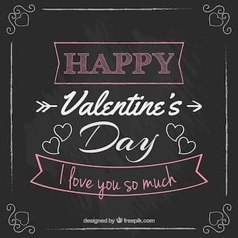 Belettering van valentijn dag in een schoolbord stijl