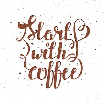 Belettering vectorillustratie met koffiebonen
