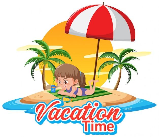 Belettering voor vakantietijd met meisje op het strand