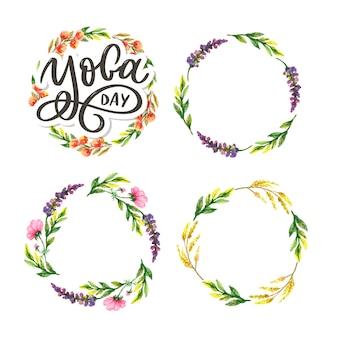 Belettering yoga. achtergrond internationale yogadag. ontwerp voor poster, t-shirts, tassen. yoga typografie. elementen voor labels, logo's, pictogrammen, badges.