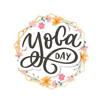 Belettering yoga. achtergrond internationale yogadag. voor poster, t-shirts, tassen. yoga typografie. vector-elementen voor labels, logo's, pictogrammen, badges.