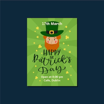 Beletteringsthema voor st. patricks dag folder sjabloon