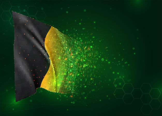 België, 3d vlag op groene achtergrond met polygonengon