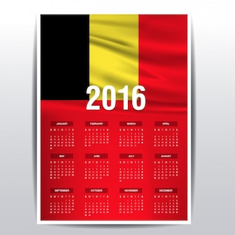België kalender van 2016