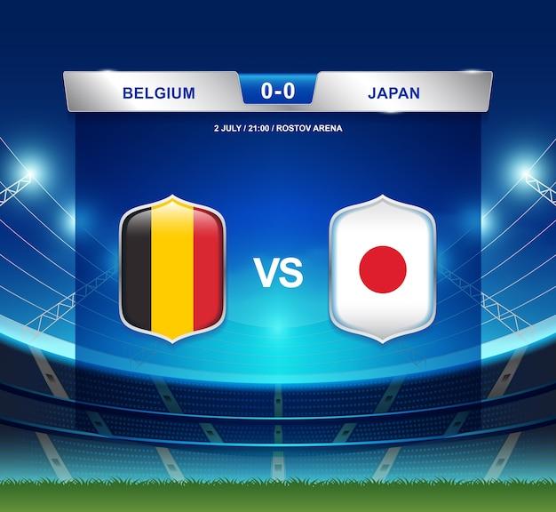 België versus japan scorebord uitzendsjabloon