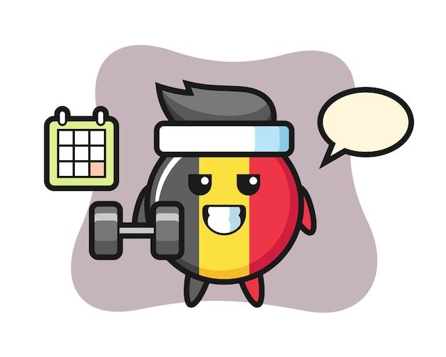 België vlag badge mascotte cartoon fitness met halter doen