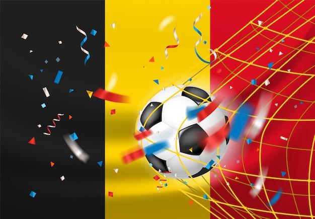 België wint. bal in een net. voetbalwedstrijd winnaar concept