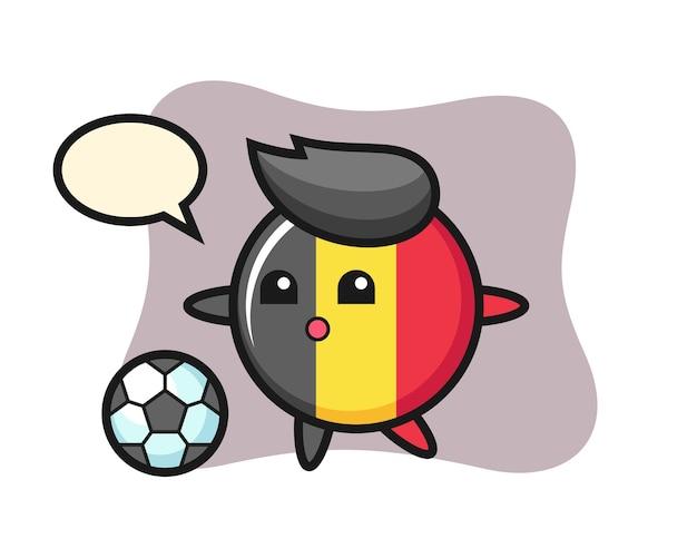 Belgische vlag badge cartoon speelt voetbal