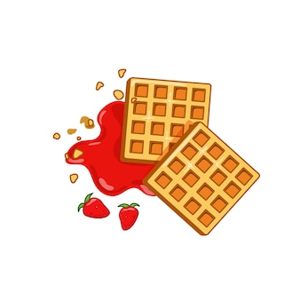 Belgische wafel met aardbeienjam. geïsoleerde witte achtergrond. eps10 vectorillustratie.