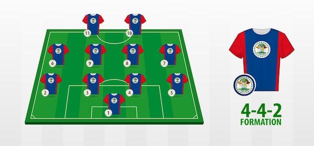 Belize national football team vorming op voetbalveld.