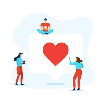Bellentoespraak met rond hart en mensen