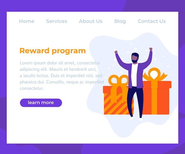 Beloningsprogramma, websiteontwerp, man met geschenken, vector