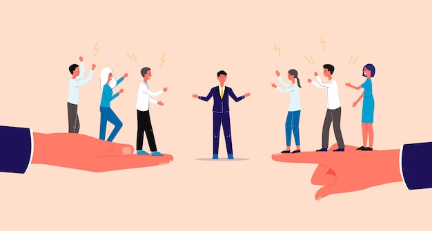 Bemiddelaar en beslechting van conflicten met karakters uit zakenmensen