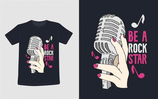 Ben een rockster inspirerend citaten typografie t-shirt