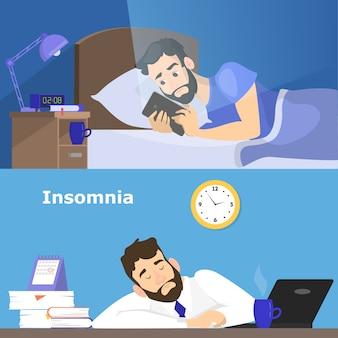 Benadrukt man die lijdt aan de slapeloosheid. man zonder slaap 's nachts. vermoeid karakter op het werk op kantoor. illustratie