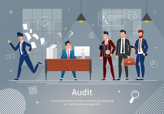 Benadrukt man op werkplek gecontroleerd door auditors. sjabloon