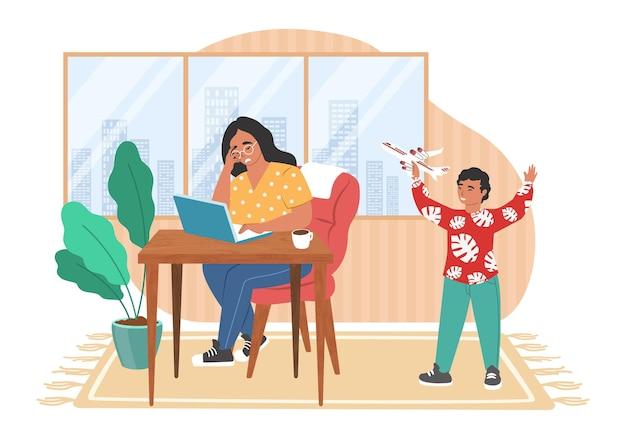 Benadrukt moeder die op de computer werkt terwijl een kind lawaai maakt terwijl hij speelt met vliegtuigspeelgoed, vectorillustratie ouderlijke stress.