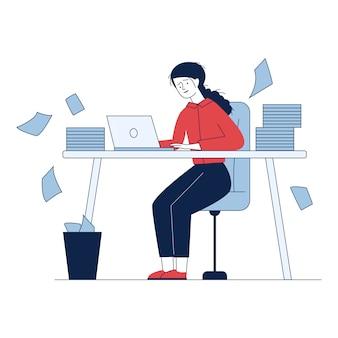 Benadrukte accountant die met stapels rapporten werkt