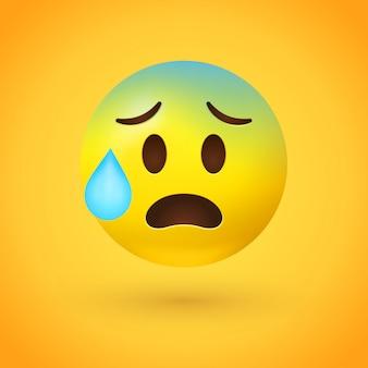 Benadrukte emoji met zweetdruppel