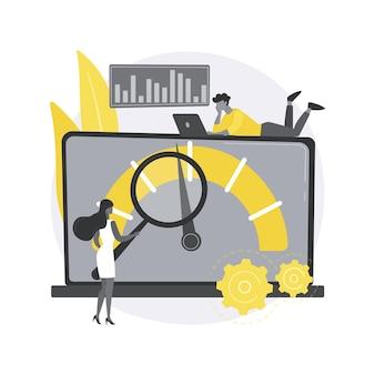 Benchmark testen. benchmarkingsoftware, productprestatie-indicator, belastingstests, prestatiekenmerken, test van concurrerende producten.