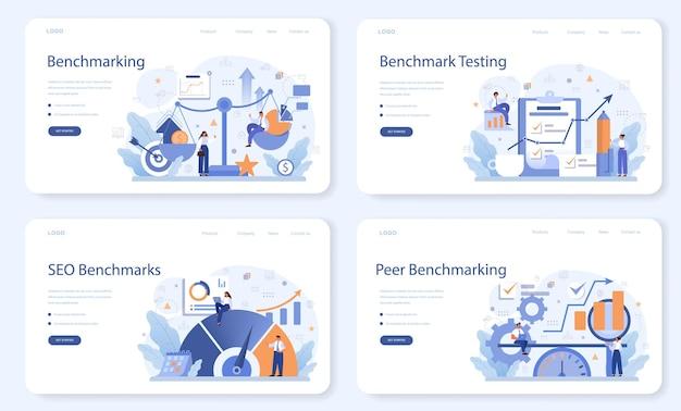 Benchmarking van weblay-out of bestemmingspagina-set. idee van bedrijfsontwikkeling en verbetering. vergelijk kwaliteit met concurrerende bedrijven.