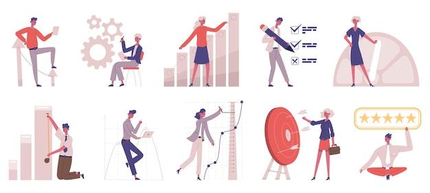 Benchmarking vergelijking bedrijfsontwikkelingsstrategie. zakelijke ontwikkeling vergelijken, verbetering testen vector illustratie set. benchmark testen en analyseren