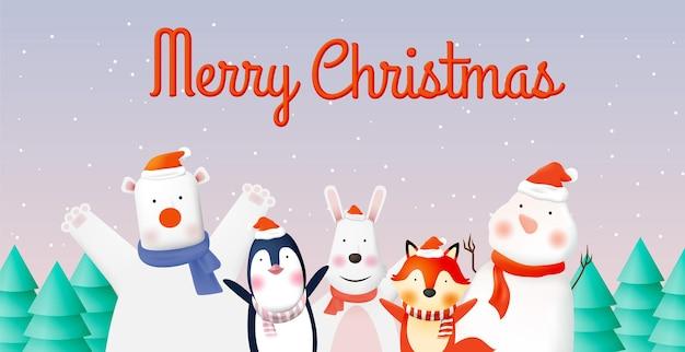 Bende van dierenfeest met heel schattig karakterontwerp in pastelkleur om te vieren en vrolijk kerstfeest