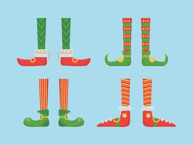 Benen kerstelf in schoenen met bellen. santa helpt schoenen en broeken.
