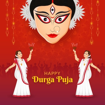 Bengali lady dancing in durga puja shubh navratri festival happy dussehra en durga puja