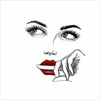 Benieuwd gezicht met vinger in de lippen