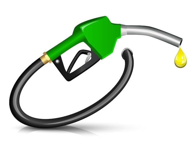 Benzine brandstof nozzle die een druppel geeft