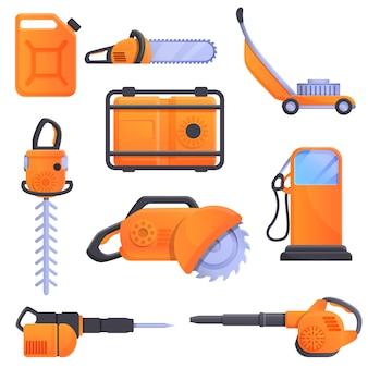 Benzine hulpmiddelen iconen set, cartoon stijl