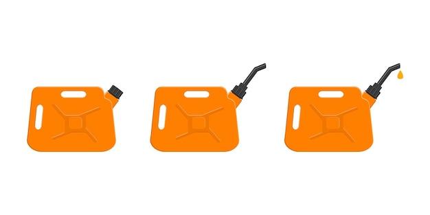 Benzine jerrycans met afsluitdop tuit en lekkende benzinedruppel