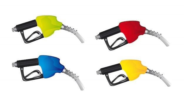 Benzine pomp geïsoleerd over witte achtergrond vector