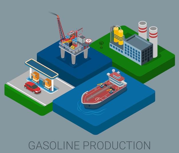 Benzine productieproces cyclus platte d web isometrische infographic concept
