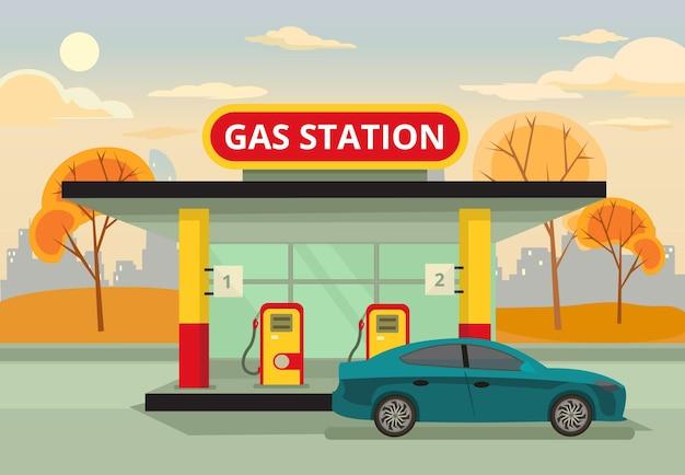 Benzine tankstation. vector platte illustratie