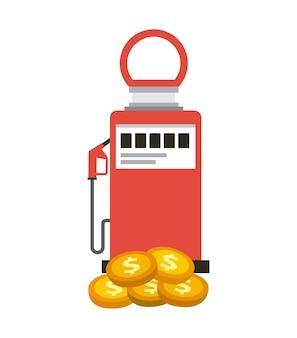 Benzinepomp en gouden munten