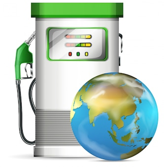 Benzinepompstation met wereldbol