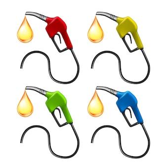 Benzineslangpomp met brandstof vloeistofdruppel