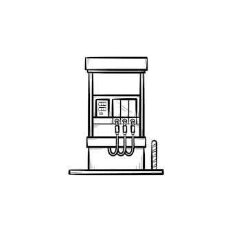Benzinestation hand getrokken schets doodle pictogram. benzinekolom-apparatuur voor tankstation schets vectorillustratie voor print, web, mobiel en infographics geïsoleerd op een witte achtergrond.