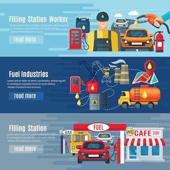 Benzinestation horizontale die banners met de symbolen van brandstofindustrieën worden geplaatst