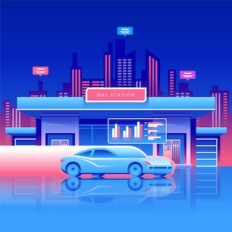 Benzinestation met auto