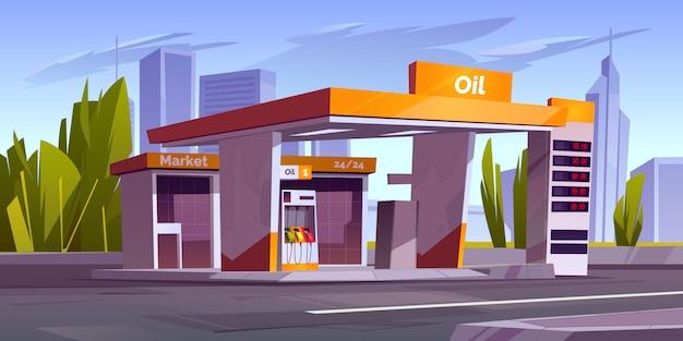 Benzinestation met oliepomp en markt in de stad