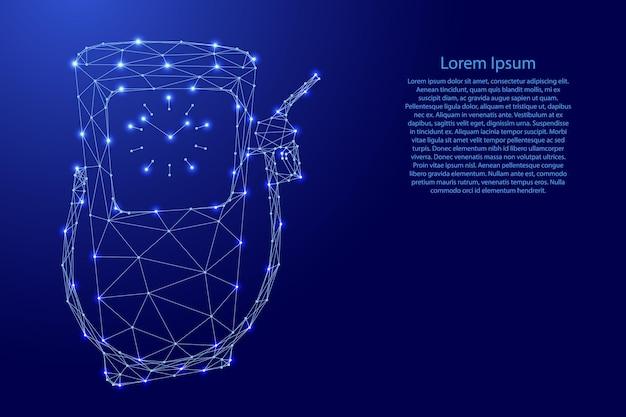 Benzinestation van futuristische veelhoekige blauwe lijnen en gloeiende sterren voor spandoek, poster, wenskaart. vector illustratie.