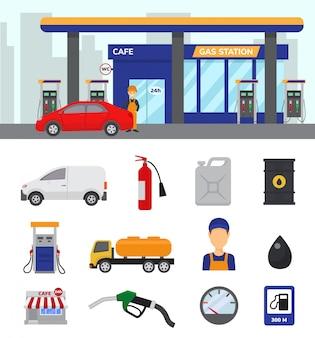 Benzinestation vectorbenzine of benzine en diesel voor het van brandstof voorzien van auto's illustrationund