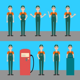 Benzinestation werknemer vector set illustratie, werken bij benzine tankstation, achter tot in uniform, verschillende poses met verschillende emoties, karakter